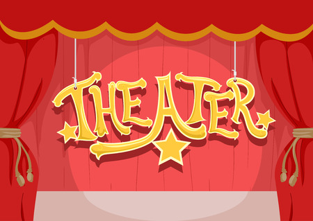 Typography Illustration of a Theater Stage with Red Curtains Illuminated by a Spotlight