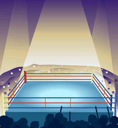 背景から観客応援しながらストロボ ライトに照らされた空のボクシング リングのイラスト 写真素材
