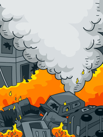 bombing: Anarchy Themed Illustration Featuring Burning Cars Set Alight by Arsonists