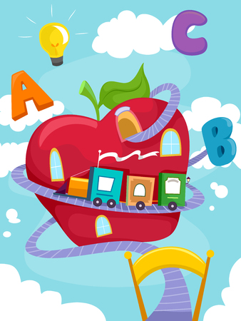 dreamland: Education Themed Illustration Featuring a Toy Train Made of Building Blocks Circling Around a Giant Apple Stock Photo