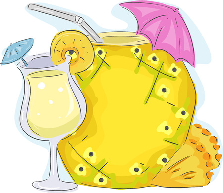 cocktail drink: Board Illustration Featuring a Pineapple Drink Standing Beside a Hollow Pineapple Decorated with a Pink Cocktail Umbrella Stock Photo