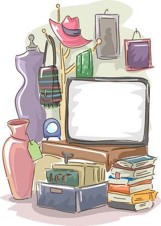 Garage Sale Illustration Featuring a Large Blank Board Surrounded by Used Items for Sale