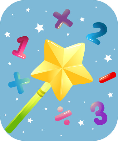 Education Themed Illustration Featuring a Golden Magic Wand Surrounded by Numbers and Mathematical Symbols Stock Photo