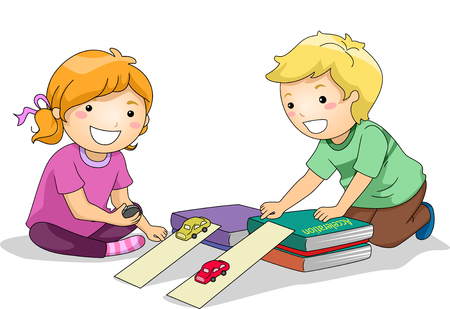 acceleration: Illustration of Preschool Kids Using Toy Cars to Study the Law of Acceleration Stock Photo