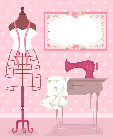 dress form: Shabby Chic Sewing Illustration Featuring a Metal Dress Form Standing Beside a Vintage Sewing Machine