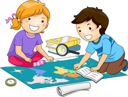 examining: Illustration of Preschool Kids Examining a Large Map While Studying Geography