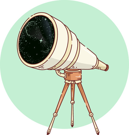 tripod mounted: Icon Illustration Featuring a Long Range Telescope Mounted on a Tripod Stock Photo