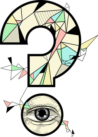 Conceptual Illustration Featuring a Question Mark Decorated with Geometric Shapes with a Human Eye at the Bottom