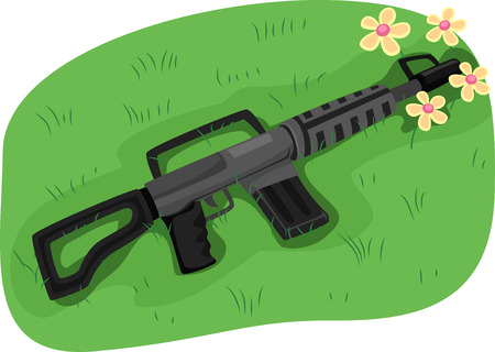 nonviolence: Illustration of an Assault Rifle with its Muzzle Blocked by a Bunch of Flowers