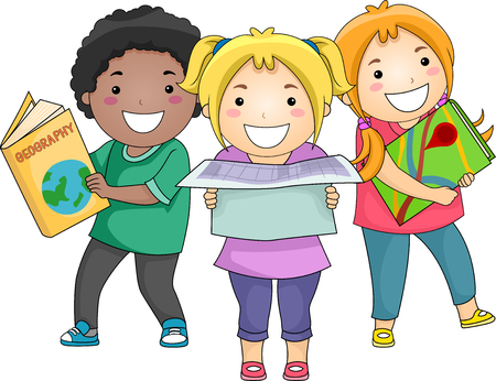 carrying out: Illustration of a Diverse Group of Preschool Kids Carrying Different Geographical References Stock Photo