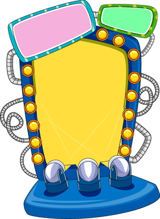 Illustration Featuring a Yellow Board Lined with Small Vanity Lights on Both Sides with an Additional Three in Front Stock Photo