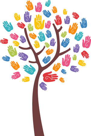 biracial: Conceptual Illustration Featuring a Lean Tree with Colorful Hand Prints as Leaves