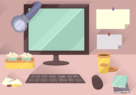 workstation: Illustration of a Typical Office Workstation Featuring a Computer Set, Assortment of Snacks, Sticky Notes, and Notepads