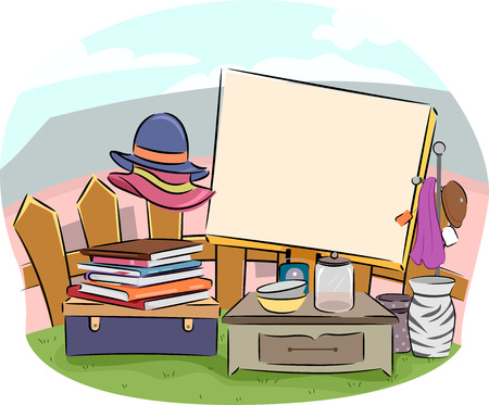 used items: Yard Sale Illustration Featuring a Large Wooden Board Surrounded by Used Items For Sale