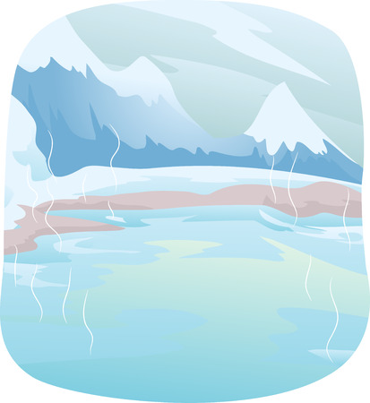 Winter Themed Illustration Featuring a Snowy Mountain with a Hot Spring at its Foot