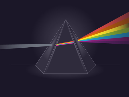 Physics Themed Illustration Featuring Light Passing Through a Triangular Prism