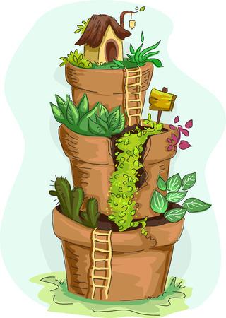 flower pots: Illustration of a Tiered Miniature Garden Made from Sculpted Flower Pots