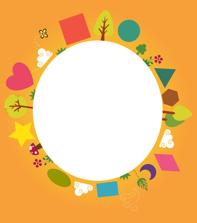 Colorful Illustration Featuring a Circular Board Decorated with Trees, Flowers, Mushrooms, and Basic Geometric Shapes Stock Photo
