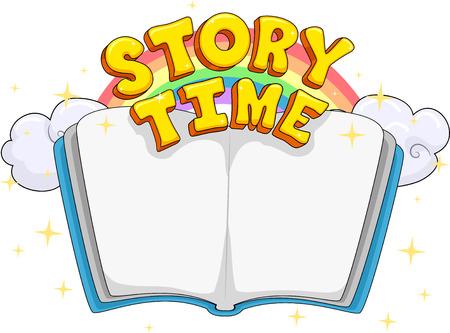Tipografía Ilustración con un libro abierto con las palabras tiempo de la historia se cierne sobre él Foto de archivo