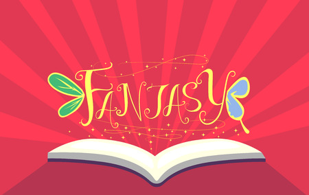 esl: Typography Illustration Featuring an Open Book with the Word Fantasy Sitting on Top