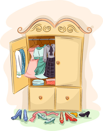 reveal: Illustration of a Vintage Cabinet Opened Wide to Reveal the Clothes Inside