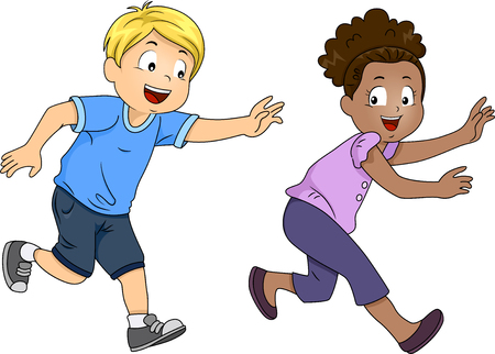 Illustration of a Pair of Preschool Kids Happily Playing a Game of Tag Stock Photo