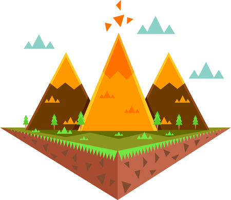 Whimsical Illustration Featuring a Floating Island Decorated with Colorful Triangles Stock Photo