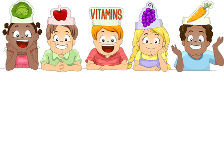 paper hats: Illustration of a Diverse Group of Preschool Kids Wearing Paper Hats Shaped Like Different Fruits and Vegetables on Top of Blank Board