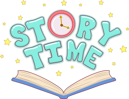 Typography Illustration Featuring an Open Book with the Words Story Time Above It Stock Photo