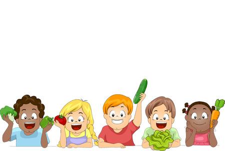 veggie: Border Illustration of a Diverse Group of Preschool Kids Presenting Different Vegetables Stock Photo