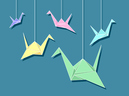 tied: Colorful Illustration of Paper Cranes Tied to Strings Hanged from the Ceiling to Attract Good Luck Stock Photo