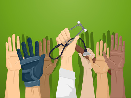 Illustration of Professionals from Different Industries Raising Their Hands to Volunteer for a Cause