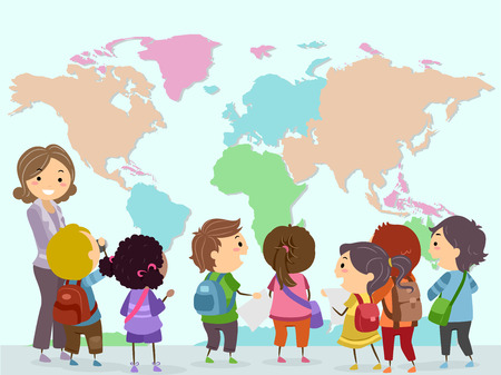 observing: Stickman Illustration of a Group of Preschool Kids Observing a Giant World Map Stock Photo