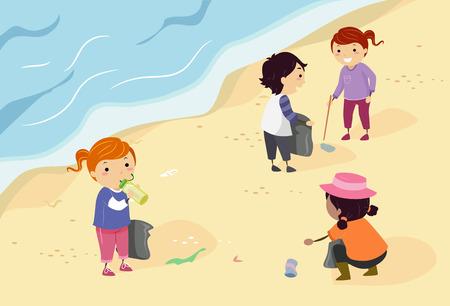 coastal: Stickman Illustration of a Group of Preschool Kids Picking Up Trash Scattered Along the Shore