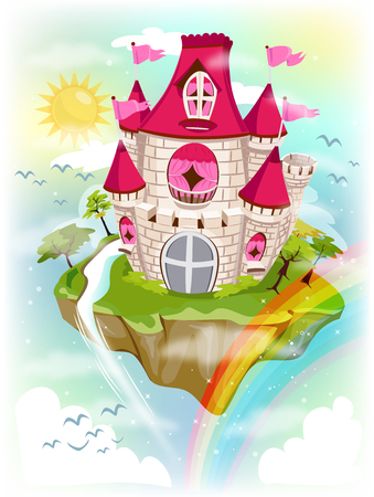 Colorful and Fancy Illustration of a Grand Castle Standing on a Floating Island - eps10 Stock Photo