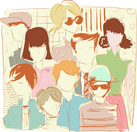 crowded: Sketchy Illustration of a Street Crowded with People Wearing Retro Clothing