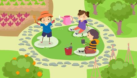group of kids: Stickman Illustration of a Group of Preschool Kids Landscaping a Garden