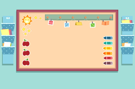bulletin: Colorful Illustration Featuring a Bulletin Board Decorated with Stickers of Apples, Crayons, and Photographs