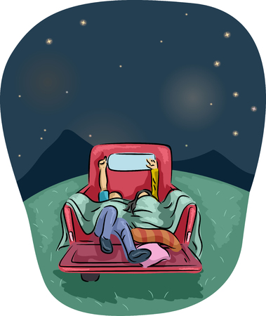 gazing: Romantic Illustration of a Couple Stargazing from the Back of a Pick Up Truck Stock Photo