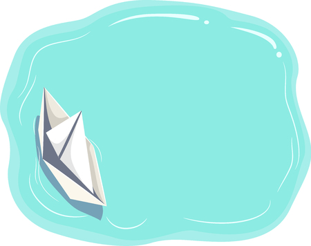 Colorful Flat Illustration Featuring a Paper Boat Floating on Turquoise Waters