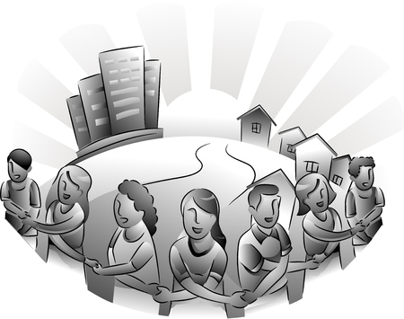 Black and White Illustration Featuring the Residents of an Urban Area Forming a Circle Around Their City
