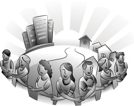 Zwart-wit Illustratie Met de inwoners van een stedelijk gebied vormen een cirkel rond hun stad