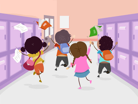 corridors: Stickman Illustration of a Group of Preschool Kids Jumping in Glee After the Last Day of Class