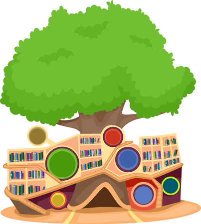 books library: Illustration of a Modern Tree House Equipped with a Library with an Extensive Collection of Books