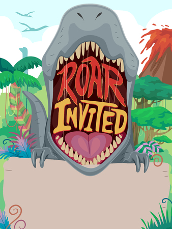 growl: Colorful Illustration Featuring an Invitation Banner Decorated with a Dinosaur and a Prehistoric Landscape