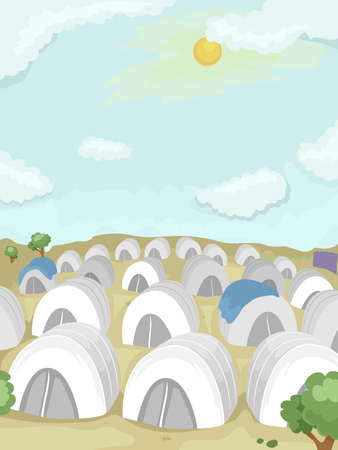 populated: Illustration of a Refugee Camp in the Desert Populated With White Tents