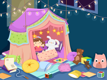playroom: Colorful Illustration of a Playroom with an Indoor Tent Filled with Dolls, Plushies, and Stuffed Toys