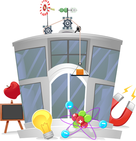 magnetismo: Illustration of a Physics Research Center with Physics Related Elements Scattered Around