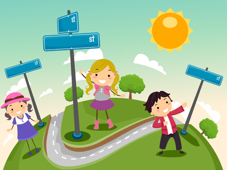 street sign: Stickman Illustration of a Group of Preschool Kids Standing Beside Street Signs Stock Photo