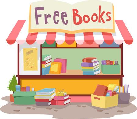 書籍の品揃えを配って小さな露店のカラフルなイラスト 写真素材